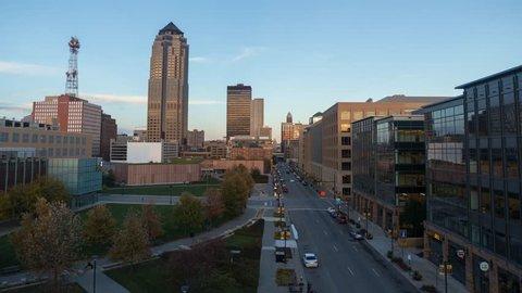 Des Moines, Iowa Cityscape Timelapse