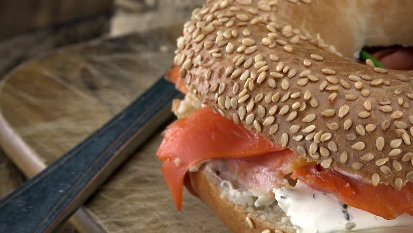 Bagels with Salmon (rotating, close-up) as seamless loopable 4K UHD footage | Shutterstock HD Video #17201263