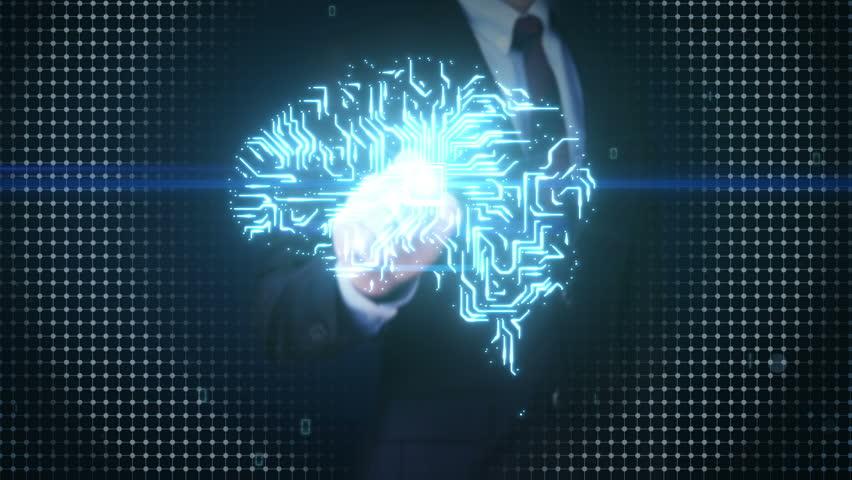 Businessman touching Brain CPU chip, grow artificial intelligence 2. | Shutterstock HD Video #17202310