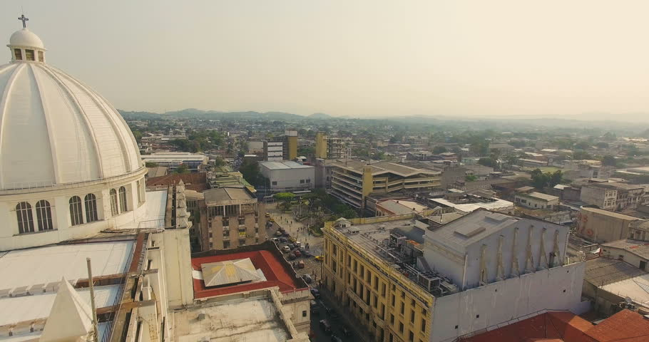San Salvador / El Salvador - May 26, 2016: An aerial view of the main cathedral in the heart of the city's downtown.