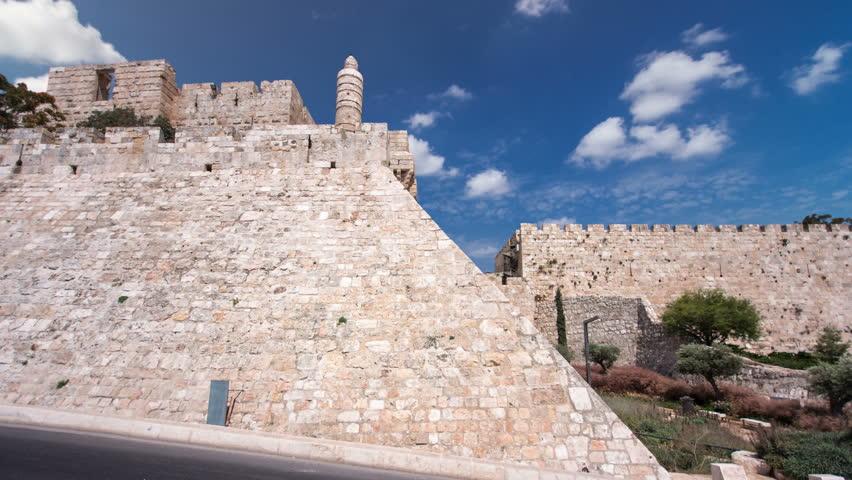 Tower of David timelapse hyperlapse. Jerusalem, Israel