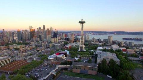 Seattle Skyline Sunset Aerial 4k stock video.