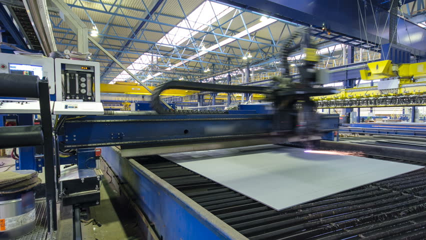 Industrial Laser cutting processing manufacture technology of flat sheet metal steel material with sparks timelapse hyperlapse