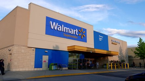 Coquitlam, BC, Canada - June 10, 2016 : Motion of Walmart store building exterior.  Walmart is the world's largest public corporation and the largest retailer in the world.