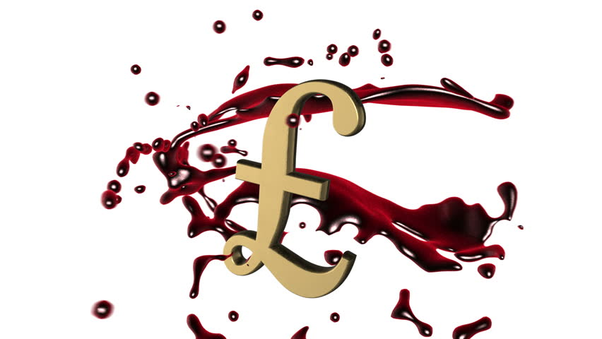 Looped animated background: 3d red-scarlet blood splash rotate around the symbol of  golden  pound sterling on the white background. 4k. Seamless loop. Alpha matte.
