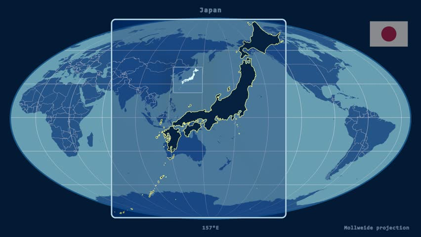 Zoomed in view of a japan outline with perspective lines against a zoomed in view of a japan outline with perspective lines against a global admin map in the mollweide projection stock footage video 17304823 shutterstock gumiabroncs Gallery
