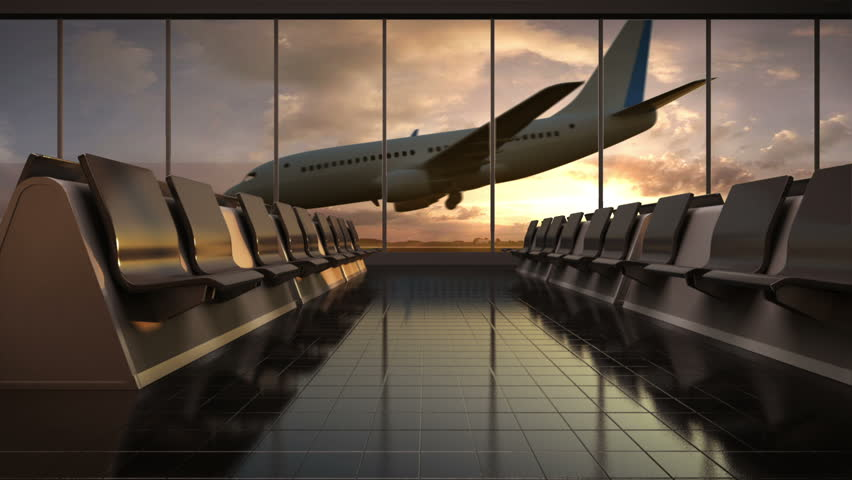 Arrival airplane in flight waiting hall. lounge.sunset. moving camera. #17343763