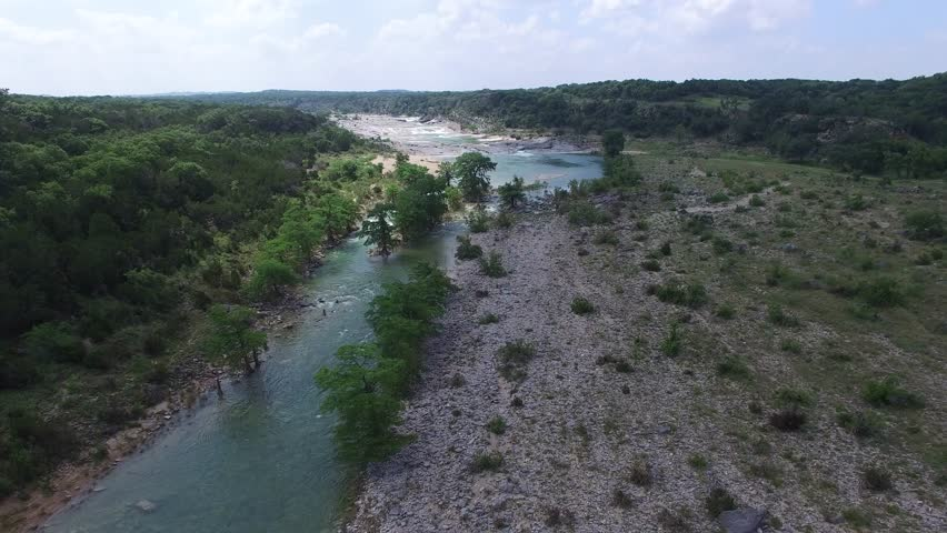 This is an aerial video of the Pedernales Falls.  Pedernales Falls is located in Johnson City Texas. | Shutterstock HD Video #17397523