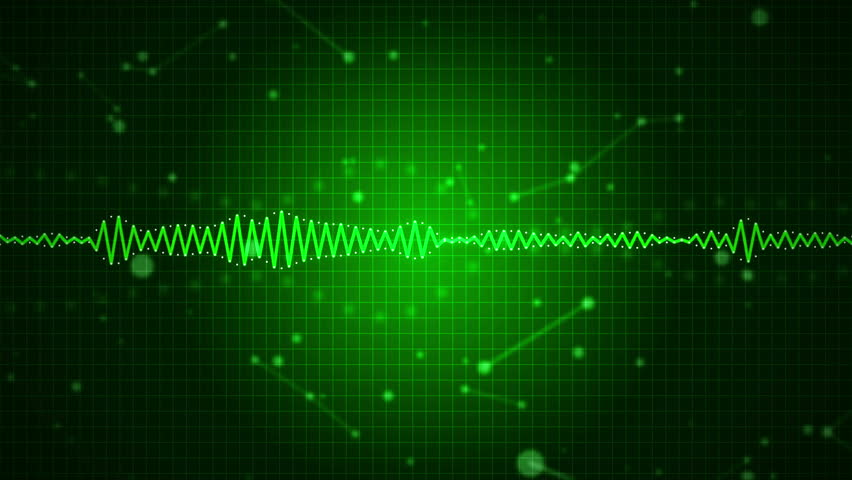 Animated Audio Sound Waveform Spectrum Waves On Green Background
