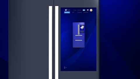 3D animation of smart refrigerator touch interface. User can manage food or purchase via online shop.