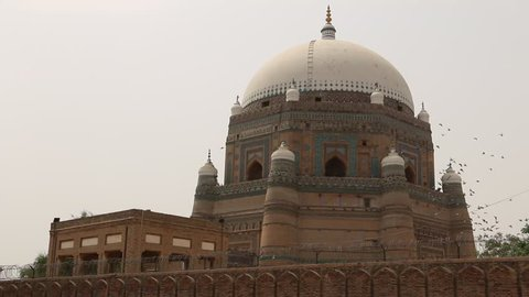 MULTAN, PAKISTAN - JUNE 17, 2016: View of Tomb of Shah Rukn-e-Alam in Multan Pakistan. Over 100,000 people visit this tomb every year from all over South Asia.