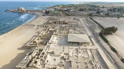 Caesarea - Byzantine street of shops; Baths; Town walls and moat; Temple Augustus