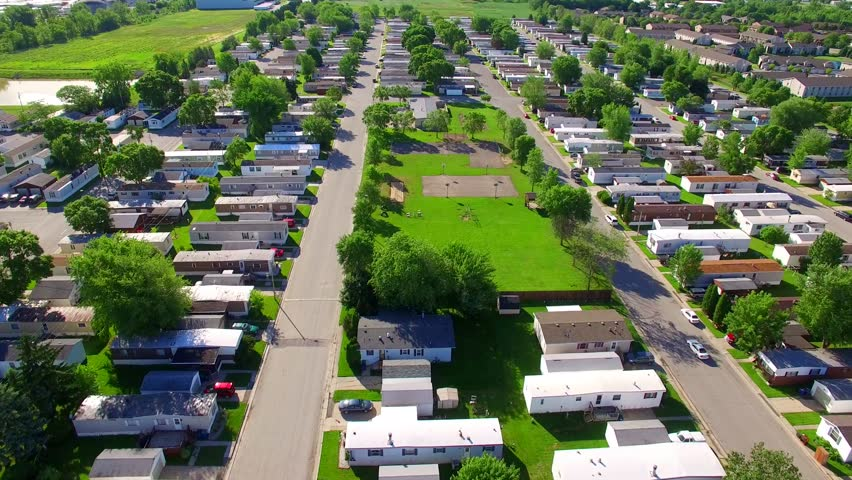 Vast Trailer Park Mobile Home Court On Sunny Summer Morning Aerial View