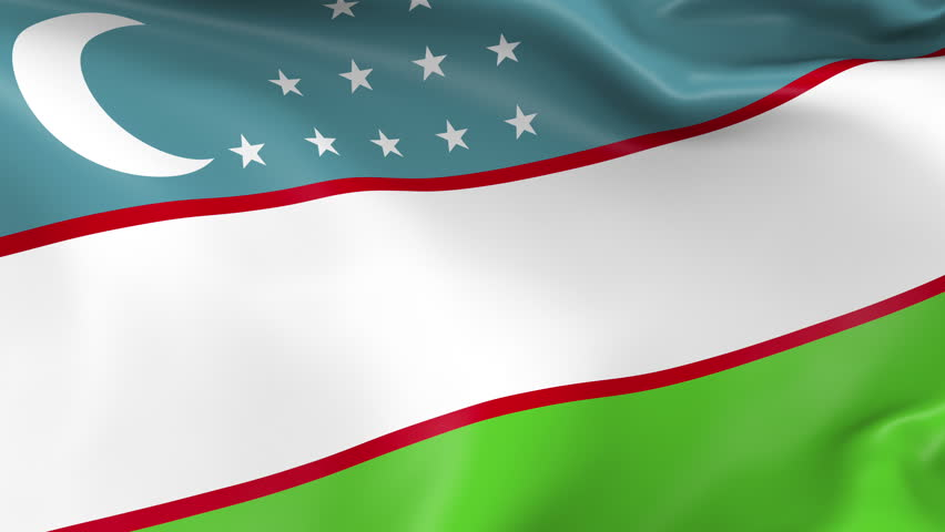 Photo realistic slow motion 4KHD flag of the Uzbekistan waving in the wind. Seamless loop animation with highly detailed fabric texture in 4K resolution.