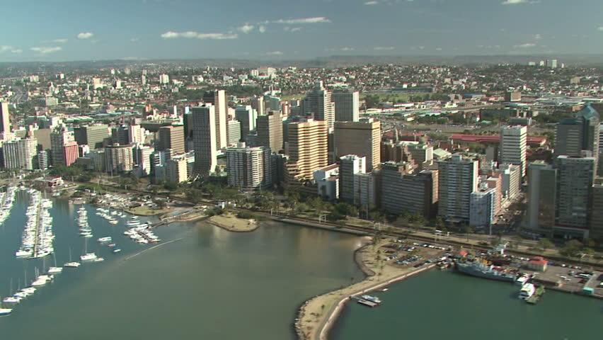 Aerial of Durban city and marina