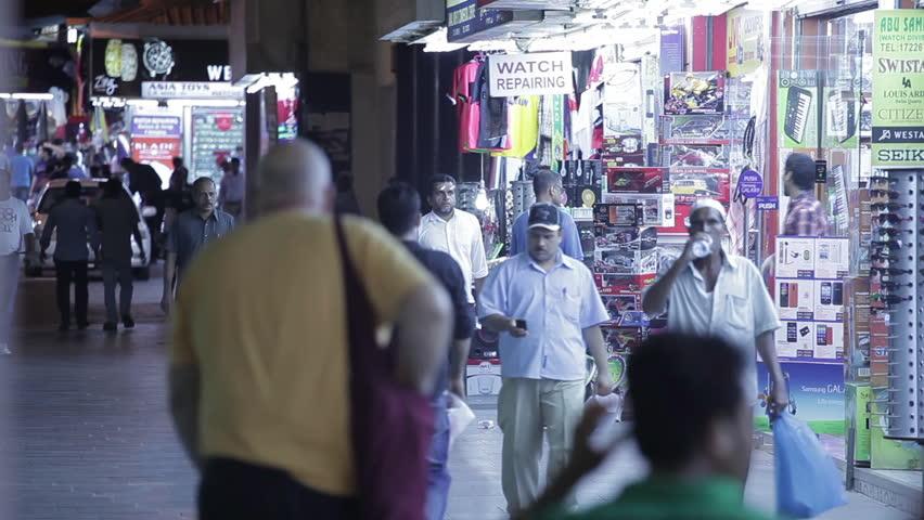 Bahrain souq. MCU shot of a busy shopping street in Manama. (Bahrain - 2016)   Shutterstock HD Video #17535403