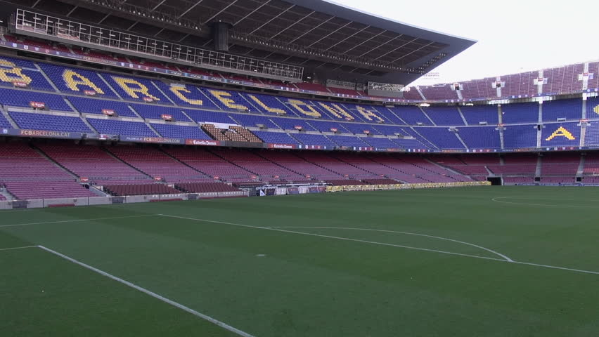 Aerial shot taken using an octocopter (drone) and a gimbal showing FC Barcelona's soccer stadium, the Camp Nou, the Palau Blaugrana and the Miniestadi, in Barcelona. April 6, 2014.