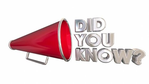 Did You Know Question Trivia Bullhorn Megaphone 3d Animation