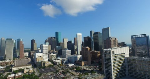 Aerial view of the East side of downtown Houston next to the Toyota Center.