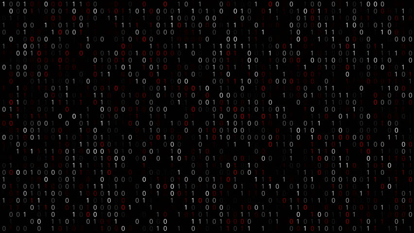 Twinkle binary code screen listing table white and red digits on black background | Shutterstock HD Video #17646403
