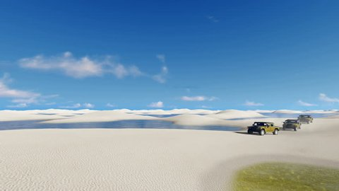 Off-road vehicles SUV traveling among unique white sand dunes and water lagoons in Lencois Maranhenses National Park in Brazil. 3D animation rendered in 4K, ultra high definition.