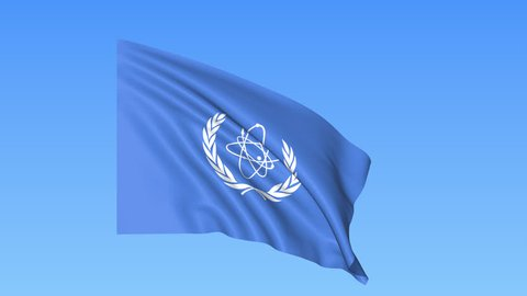 UN International Atomic Energy Agency IAEA flapping flag. Seamless looping, 4K ProRes with alpha channel