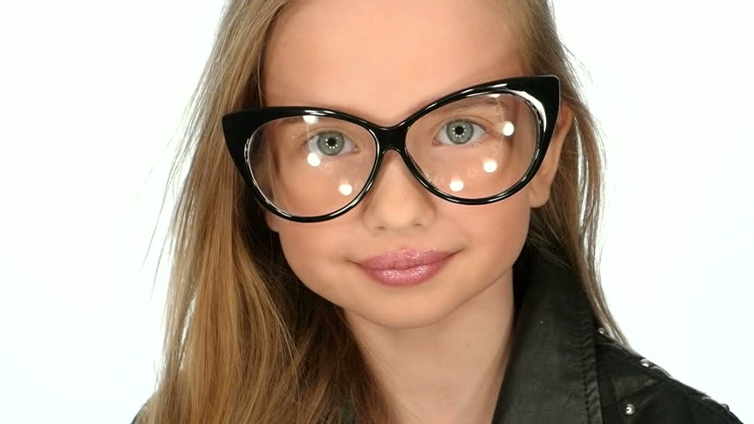 beautiful big blue eyed weared glasses teenage girl is