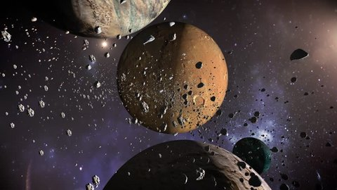 Planets & Meteorites is a full Hd, fantastic animated video of traveling through space. Dodge meteorites and planets in this beautifully animated and rendered stock motion graphic.