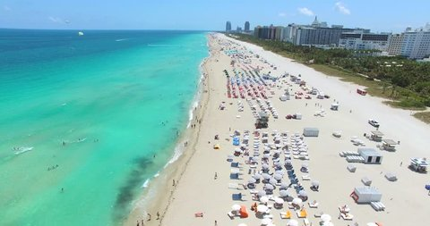 Aerial 4K video of South Beach, Miami Beach. Amazing bird's view on most famous beach in the World, Collins Park and hotels zone.