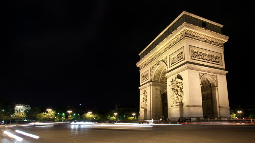 Timelapse at night Arc de Triomphe as traffic passes by | Shutterstock HD Video #1776353