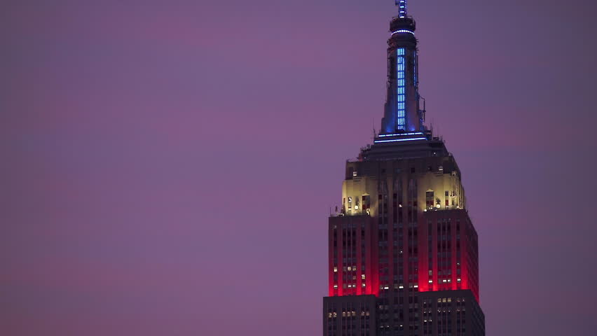 NEW YORK, NY, USA, JULY 4TH: Close-up of the Empire State Building lights celebrating July 4th weekend, July 4th 2016, Midtown, New York, NY, USA