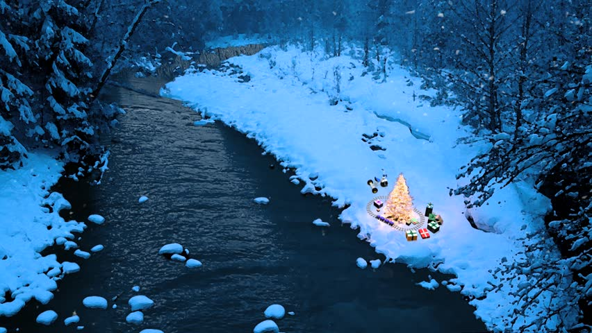 Beautiful winter scene with a flowing river, snow, and a Christmas tree with presents