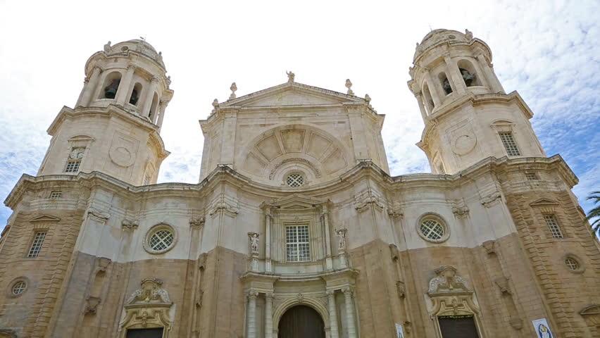 Facade Of The Famous Cathedral Cadiz In Spanish Iglesia De Santa Cruz