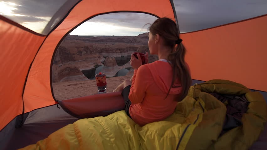 Cup of Coffee at Sunrise Reflection Canyon Utah Lake Powell Camping