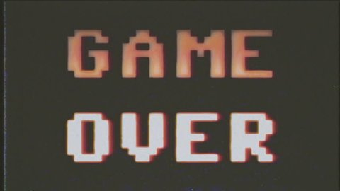 A game over screen, in 4k but treated as it's from an old VHS cassette tape. 8 bit retro style.