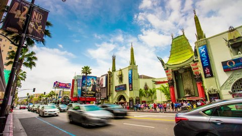 LOS ANGELES, USA - MAY 2016: day famous hollywood boulevard chinese theater 4k time lapse circa may 2016 los angeles, united states of america.