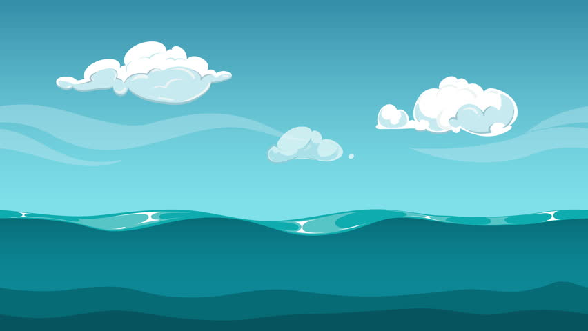 4k funny cartoon animation footage video clip of summer vacation ocean or sea horizon animated background water surface and blue sky with clouds ocean voltagebd Gallery