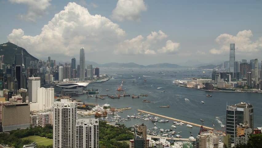 Time lapse of Hong Kong Victoria Harbor City skyline - Tsim Sha Tsui, Kowloon, Victoria Harbor and Hong Kong island.   Shutterstock HD Video #17859472