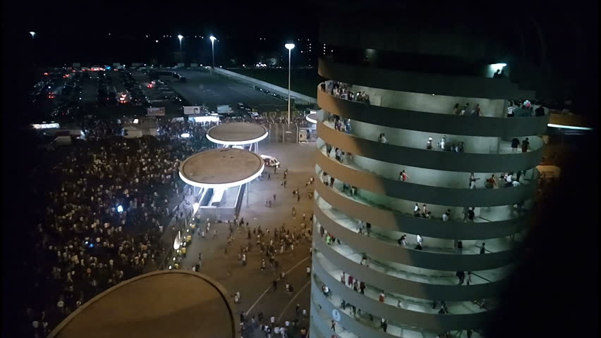 Crowd leaving San Siro stadium in Milan after Bruce Springsteen concert on 5th July 2016