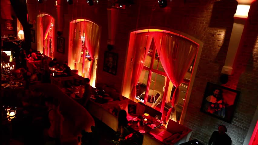 russia moscow 28122011 restaurant interior halloween party people relaxing and