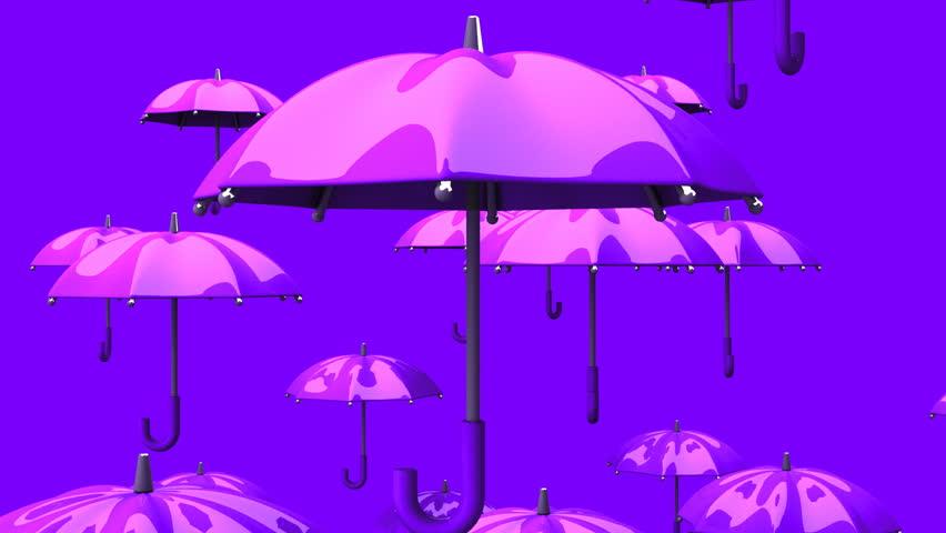 Rising Purple Umbrellas On Background Cg Render Animation