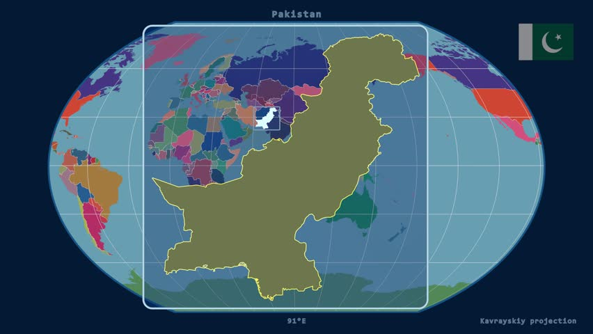 Hd looping digital animation starts with spinning glowing globe zoomed in view of a pakistan outline with perspective lines against a global admin map gumiabroncs Images