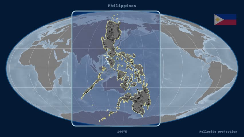 Zoomed-in view of a Philippines outline with perspective lines against a global elevation map in the Mollweide projection | Shutterstock HD Video #17931133