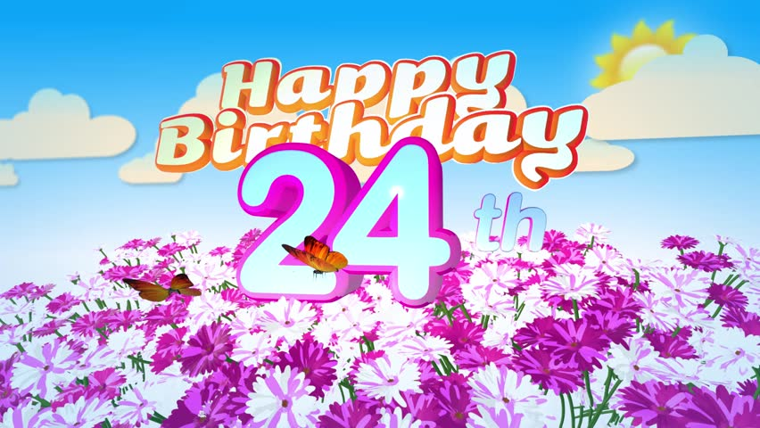 Animated Happy 24th Birthday Card with a Field of Flowers while two little Butterflys circulating around the Logo. Twenty seconds seamless loop.
