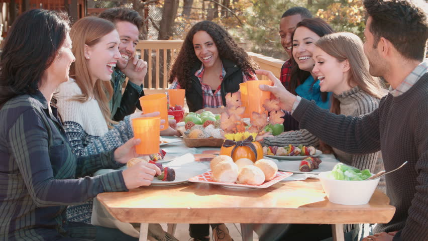 Dinner Party Video Part - 32: Group Of Happy Friends At A Table Outdoors Making A Toast - 4K Stock Video  Clip