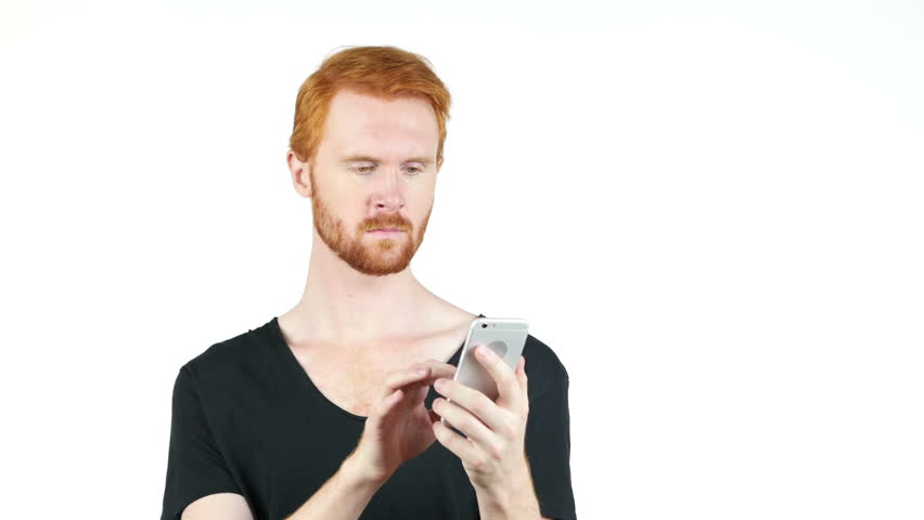 Yoing man holding mobile smartphone using app texting sms message , white back ground | Shutterstock HD Video #17965963