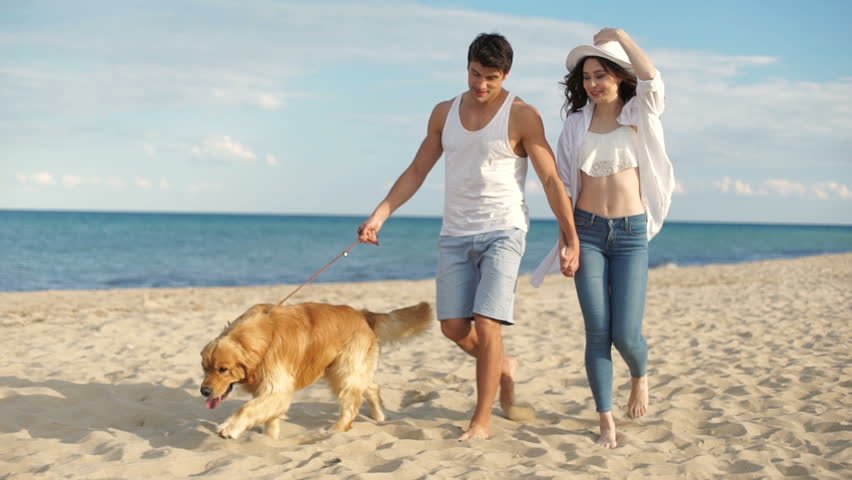Young Casual Woman Walking On The Beach Stock Footage -1463
