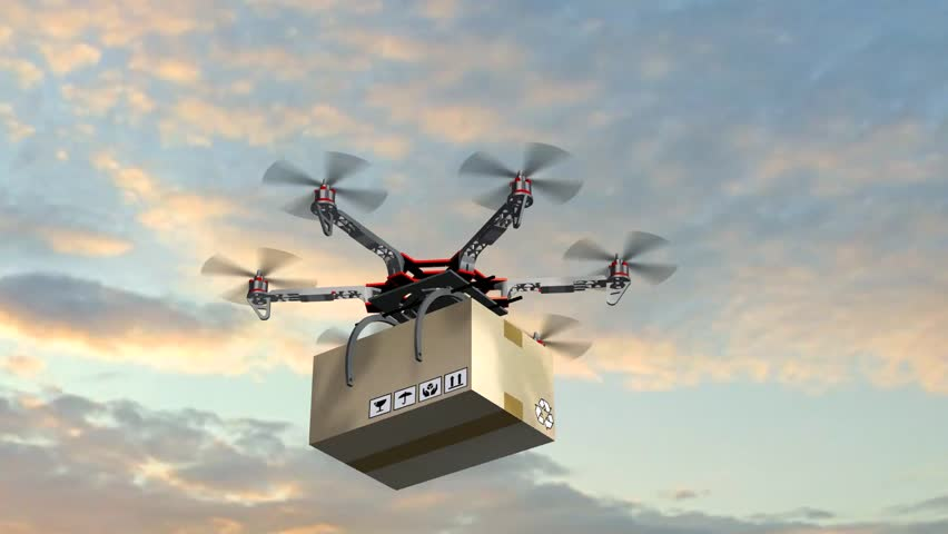 Drone Hexacopter delivers a package | Shutterstock HD Video #17977546