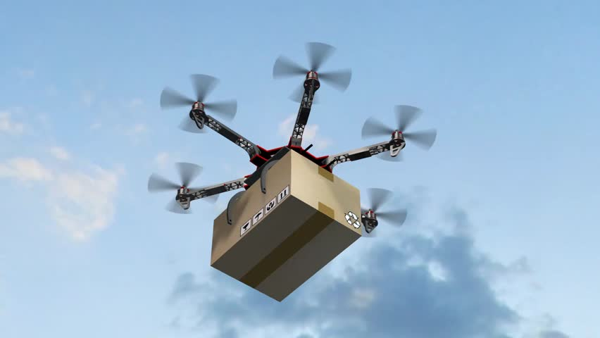 Drone Hexacopter delivers a package | Shutterstock HD Video #17977645