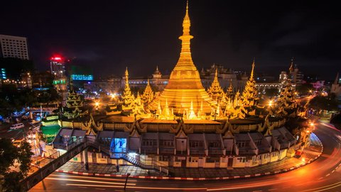 Sule Pagoda Landmark Ancient Pagoda Place Bright In Night Yangon Cityscape 4K Time Lapse Of Yangon City, Myanmar (loop)
